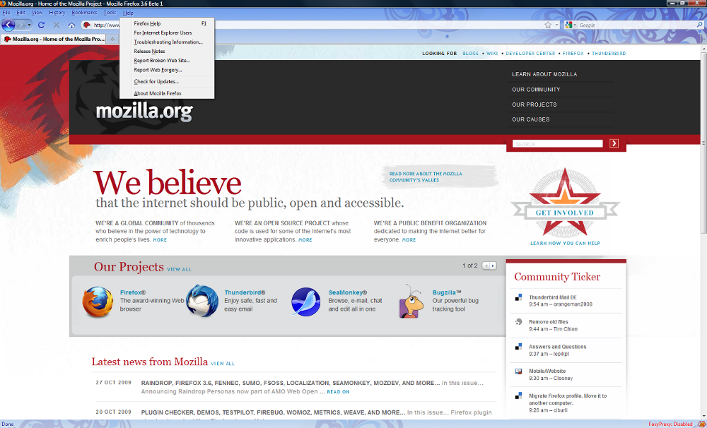 Firefox 3.6 Beta: Latest browser from Mozilla