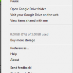 Tray menu for Google Drive