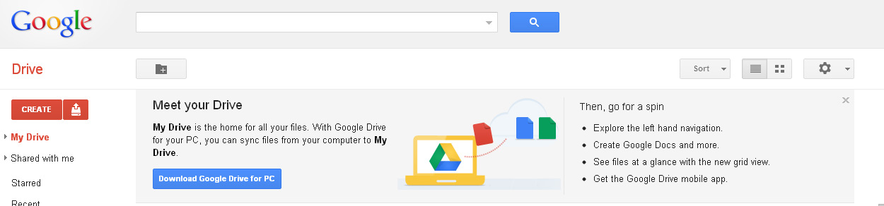 Google Drive as it will appear in the browser.