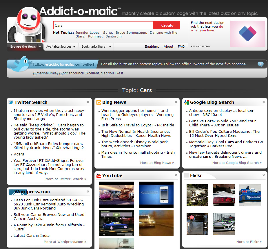 Addictomatic features a customizable layout.