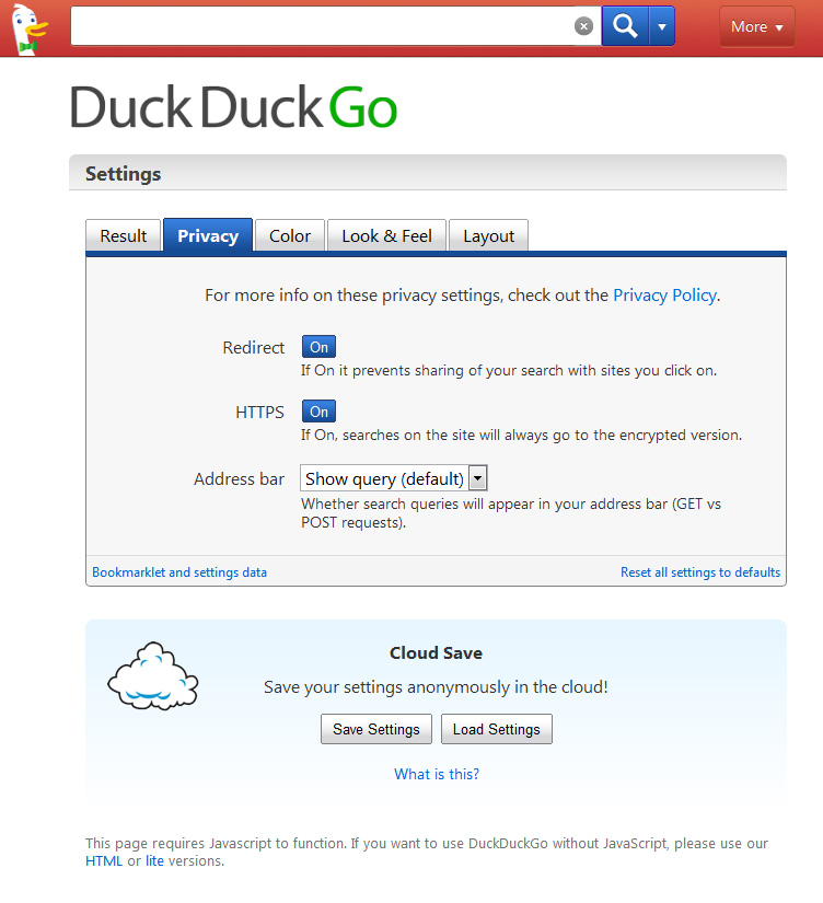 DuckDuckGo features a lot of different settings.