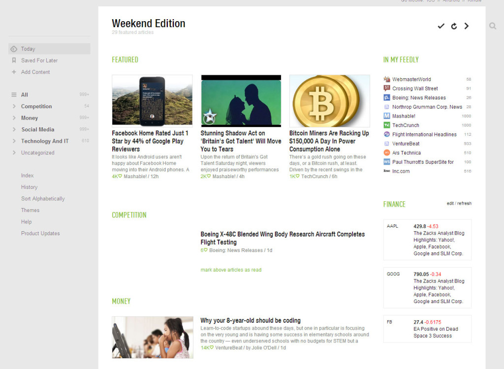 Feedly RSS reader screenshot
