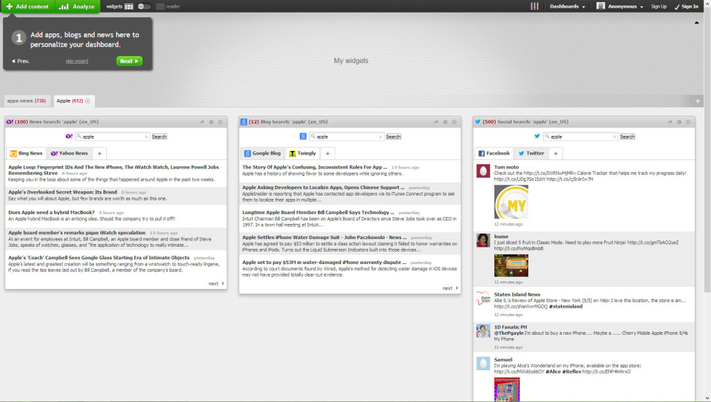 Netvibes RSS reader screenshot